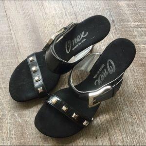 Black and Silver Slide Onex Heels